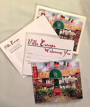 Gift Certificates | Villa Europa